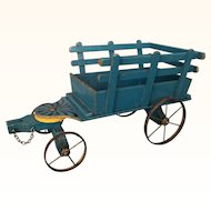 French wooden painted toy cart