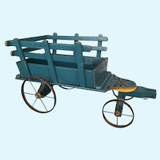 Vintage French wooden painted toy cart