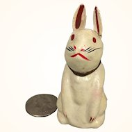 Papier mache rabbit toy in diminuitive size