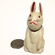 Papier mache rabbit toy in diminuitive size