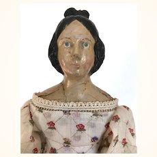 Antique Papier mache milliner's model doll with Apollo Top Knot