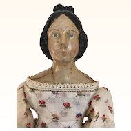 Antique Papier mache milliner's model doll with Apollo Top Knot