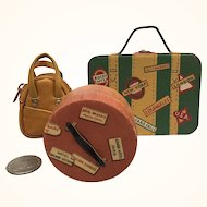 Group of doll sized luggage, vintage and artist-made