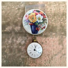 Miniature Pocket watch in handpainted box