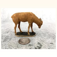 Antique miniature flocked cow for creche or pasture