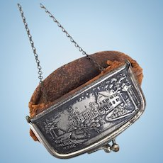 Antique leather and metal purse for doll
