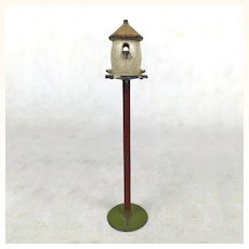 Old painted cast metal Dollhouse birdfeeder