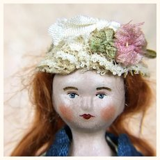 Papier mache artist doll, Miss Lottie Casper by Lora Soling