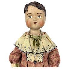 Papier mache doll, Bertie Trueman, by artist Lora Soling