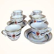 Antique doll sized French porcelain tea set in original box