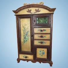 French Wooden Dollu0027s Armoire In Art Nouveau Style