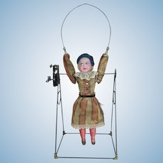 """Antique German Mechanical Toy Doll """"Girl Jumping Rope"""""""