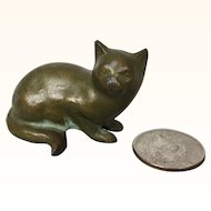 Vintage bronze miniature dollhouse cat