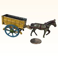 Old tin penny toy litho horse and cart