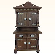 German dollhouse walnut hutch with inlaid wood