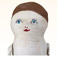 Vintage handmade folk art flapper cloth doll