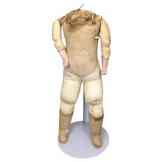Antique leather and cloth body for German bisque doll