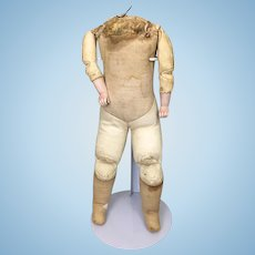 Old leather and cloth body for German bisque doll