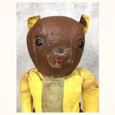 Vintage and very unusual oilcloth teddy bear in superhero suit