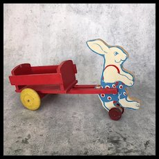 Vintage wooden painted bunny rabbit pull toy