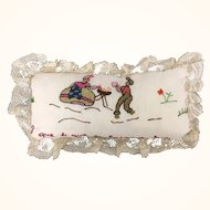 Handmade small pillow or pincushion with exquisite embroidery
