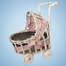 Vintage painted shabby wicker miniature baby carriage