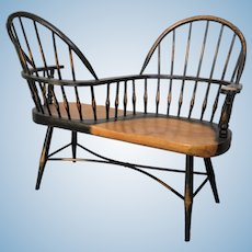 Painted wood doll-sized lover's Windsor style bench