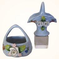 Miniature porcelain baskets for dollhouse decor