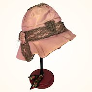 Vintage pink silk cloche for doll