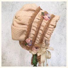 Cotton handmade doll bonnet with ribbon flowers
