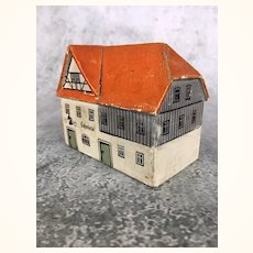 Vintage miniature painted wooden German toy house