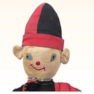 Vintage folk art cloth clown in jester suit