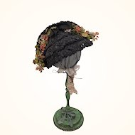 Vintage black straw doll hat with flowers