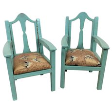 Pair of painted dollhouse armchairs