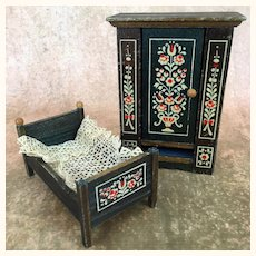Vintage dollhouse painted wardrobe and bed