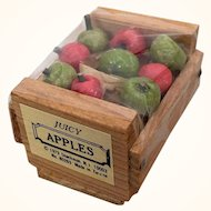 Vintage miniature crate of dollhouse apples by Shackman