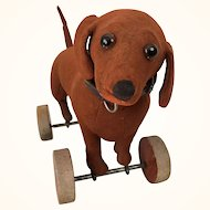 Antique Steiff Dachschund on wheels