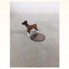Dollhouse Miniature painted metal boxer dog