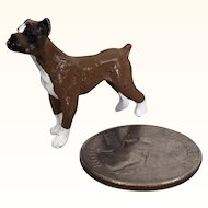 Dollhouse Miniature painted metal boxer dog