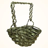Old woven brass miniature basket