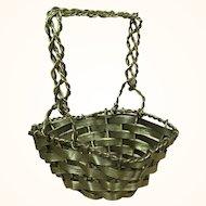 Old woven brass miniature basket