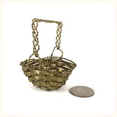 Old miniature brass woven basket