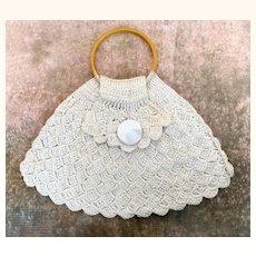 Vintage crocheted purse with bakelite handle