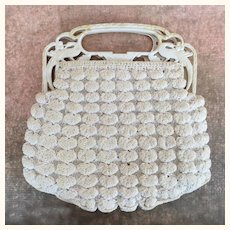 Beautiful crocheted purse with celluloid handles, 1920's