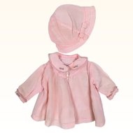 Vintage bed jacket and cloche for baby doll