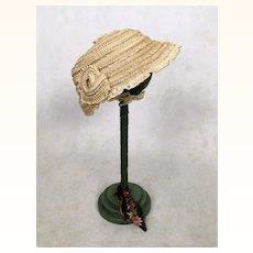 Vintage woven straw ribbon doll hat
