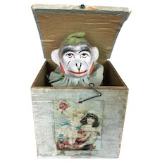 Antique papier mache Jack in the Box toy