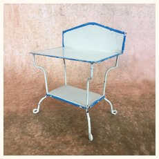 Antique dollhouse Märklin two-tier enameled tin table