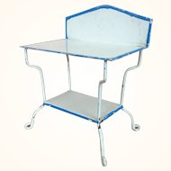 Antique dollhouse two-tier enameled tin table by Märklin