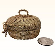 Vintage tiny miniature wire basket with cover